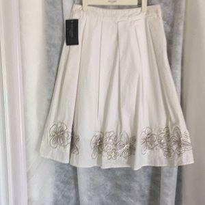 White cotton flared summer skirt  petite size